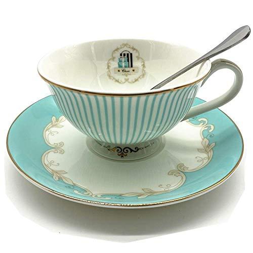 Krysclove Vintage Blue Bone China Teacup Spoon and Saucer Set Delicate Royal Bone China Coffee Mug Print Cup Ceramic Tea Cups Stripe