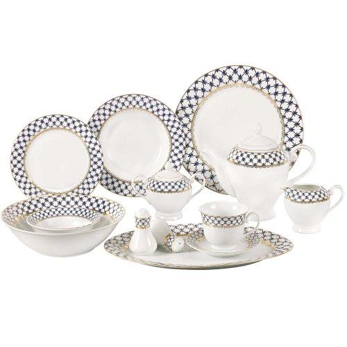 Lorren Home Trends 57-Piece Porcelain Dinnerware Set with Cobalt Blue Lattice Border Service for 8