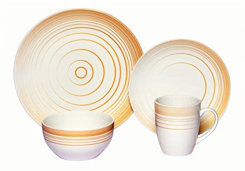 Melange Coupe 32-Piece Porcelain Dinnerware Set Gold Timber  Service for 8  Microwave Dishwasher Oven Safe  Dinner Plate Salad Plate Soup Bowl Mug 8 Each