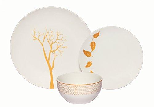 Melange Coupe 36-Piece Porcelain Dinnerware Set Gold Nature  Service for 12  Microwave Dishwasher Oven Safe  Dinner Plate Salad Plate Soup Bowl 12 Each