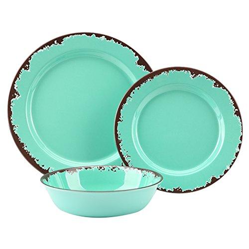 Rustic Melamine Dinnerware Set - 12 Pcs Yinshine Outdoor Camper Dishes Set Service for 4 Green