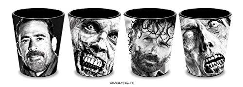 4-Pack GIFT SET 15oz OFFICIAL AMC The Walking Dead Shot Glass Negan Rick and Zombies foil printed Shot Glass Novelty GIFT SET