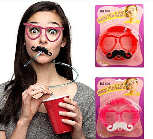 CiCy 2PCS DIY Drinking Straw Eyeglasses Straw GlassesAmazing Straw GlassesCrazy Funky Glasses Novelty Tube Joke Fun Children PartyRed Blue