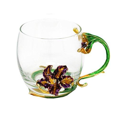 Short Tea GlassesNovelty Single Mug Unique Enamel Handle Design
