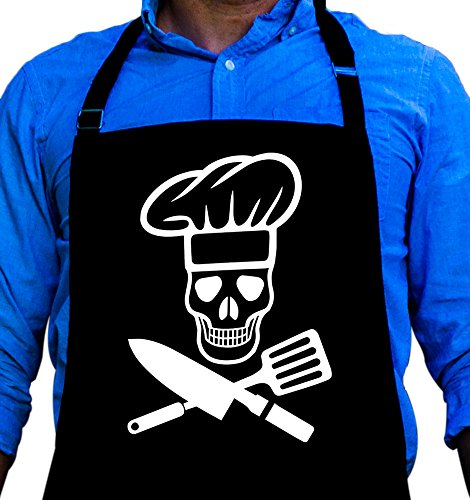 BBQ Grill Apron - Pirate Cook Skull Chef - Funny Apron For Dad - 1 Size Fits All Chef Apron High Quality PolyCotton 4 Utility Pockets Adjustable Neck and Extra Long Waist Ties