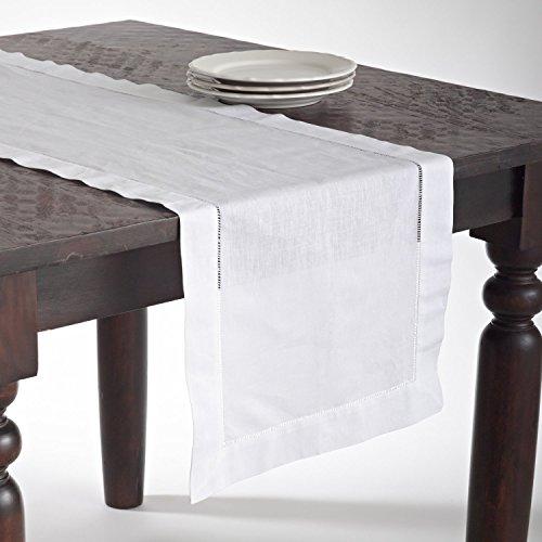 Fennco Styles Handmade Basic Hemstitch Linen-Cotton Table Runner - 16Wx72L White