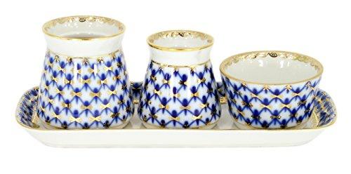 Lomonosov Porcelain Cobalt Net Spice Set 4 pc Tray Salt Cellar Pepper Box Sauceboat