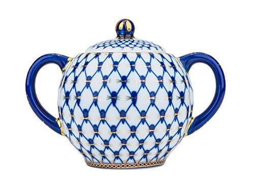 Fine Porcelain Cobalt Net Sugar Pot Vintage Bone China Sugar Bowl with Lid Cobalt Blue Net Design Sugar Server