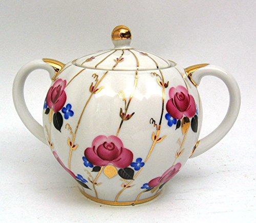 Lomonosov Porcelain Sugar Bowl 22 Karat Gold Roses 15 floz450 ml