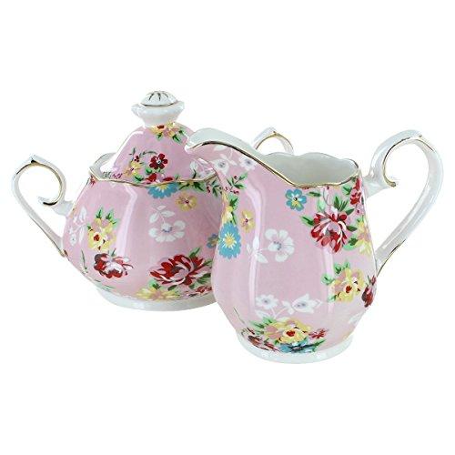 Shabby Rose Pink Porcelain - Sugar and Creamer Set