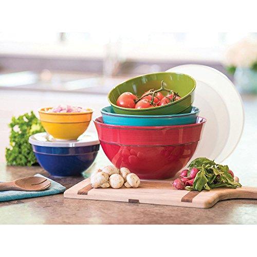 Melamine Bowls with Lids 10-Piece Set Solid Colors