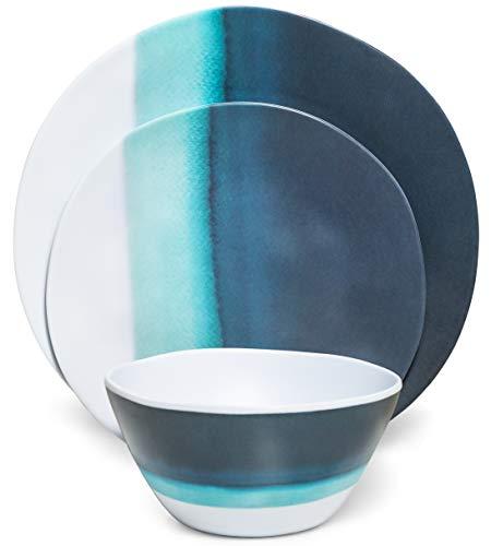 Melamine Dinnerware Set  Melamine Plates 12 Pcs Outdoor Plates Summer Plates and Bowls Sets Dinnerware Melamine Plates Ideal Camping Dish Set Dinnerware Set for 4 Dishwasher Safe Blue Ocean