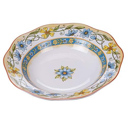 ServingPasta Bowl Blue Gold Multi Color Floral Ceramic Stoneware 1 Piece Dishwasher Safe