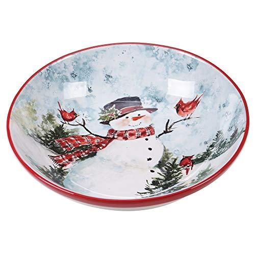 Watercolor Snowman ServingPasta Bowl Blue Multi Color Red Ceramic 1 Piece Dishwasher Safe