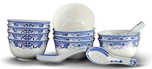 10 Pcs Fine Bone China Blue and White Bowl with Free 10 Porcelain Spoons Rice Bowl Cereal Bowl Soup Bowl Fruit Bowl Set