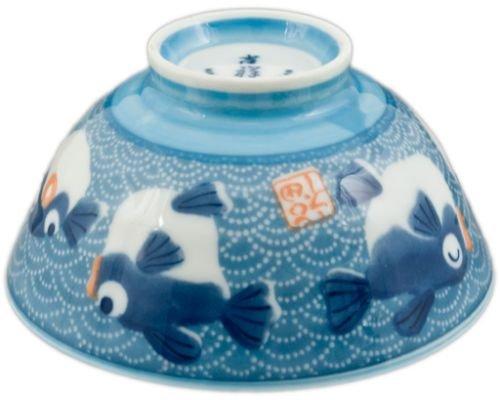 2 Pieces of Japanese 45 Diameter Porcelain Blue Fugu Lucky Fish Rice Bowls
