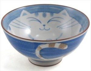 JapanBargain Smiling Blue Cat Porcelain Rice Bowl 4-12-inch