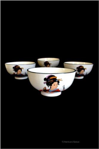 Set 4 Geisha In Kimono Japanese Asian 8oz Porcelain Rice Bowls Gift Boxed