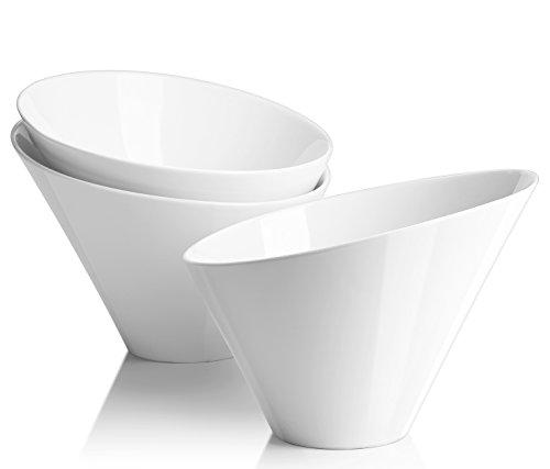 DOWAN Porcelain Salad BowlsFrench Fries Serving Bowls Set 3 Packs- 25 OZ WhiteIrregular