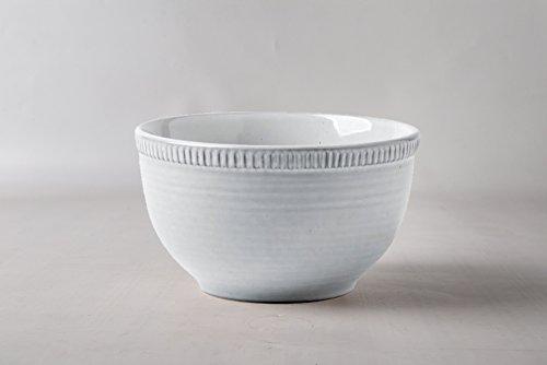 Pangu Porcelain Salad Bowl 2-Piece-Set RIVER NILE Handmade Shape Look Ornament Motif Light grey