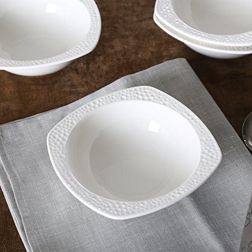 SOLECASA 13-OZSet of 4 White PorcelainCeramic Dinner Serving BowlCerealPastaSoupSalad Bowl