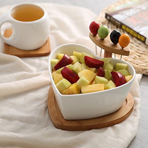 Creative Heart Shaped Ceramic Salad Bowl Fruit Dessert Plate