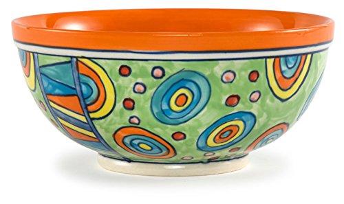 Hand-Painted Polka Dot Large Ceramic Salad Bowl 95Dx45H - Nebula