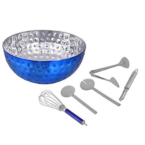 Kosma Stainless Steel Salad Bowl  6 Piece Salad Set  Serving Set Salad Bowl 36cm In a Blue Colour and Hammered Effect 2Pc Salad Server Set Whisk 30cm Salad Serving Tong Vegetable Peeler