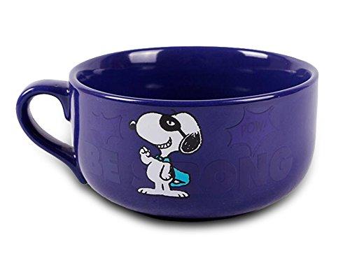 Finex Snoopy - Letter Color Changing - Ceramic Large Cereal Cup Soup Bowl Mug Blue