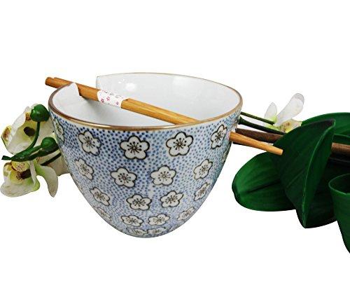Japanese Floral Motif Ceramic Ramen Udong Noodle Soup Bowl and Chopsticks Set Blue Sky