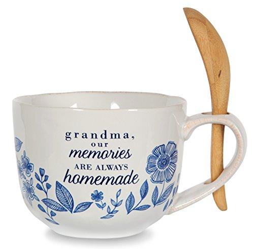 Pavilion Gift Company 86109 Grandma Ceramic Soup Bowl with Bamboo Spoon 20 oz Multicolored