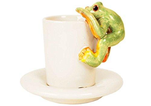 Frog 2oz Moss Handmade Ceramic Espresso Cup 8cm x 5cm