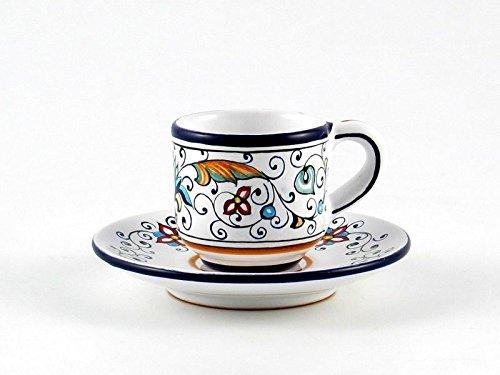Hand Painted Italian Ceramic Espresso Cup Saucer Rinascimento - Handmade in Deruta