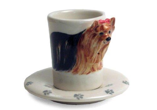 Yorkshire Terrier 2oz Tan Handmade Ceramic Espresso Cup 8cm x 5cm