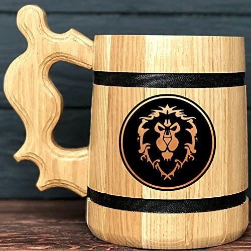 Alliance Gifts  World Of Warcraft Mug  WOW Gift  Wood Beer Mug  Engraved Mug  Personal Gifts for Men  Beer Tankard Gamer Gift K68