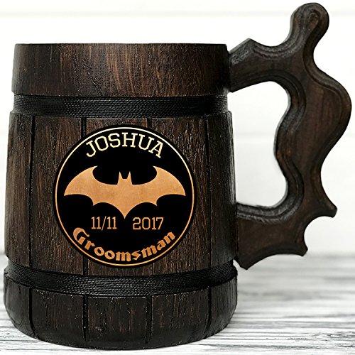 Personalized Batman Wooden Mug  Batman Mug  Super Hero Gift  Wood Beer Mug  Super Hero Mug Groomsmen Gift Groom Best Man Gift K56