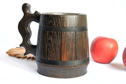 Wooden Beer Mug with Stainless steel Eco - Friendly Wood Beer Mug Brown RETRO 06L 2028oz Handmade