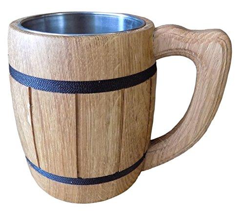 Wooden Beer Tankard Beer Mug Capacity 20 ounces 06 liters Wooden Beer Stein - Wood Carving Beer Mug of Wood Eco Friendly Great Beer Gift Ideas Beer Mug for Men Color Beige - LIMITED TIME OFFER