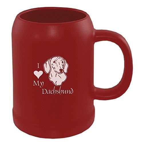 22 oz Ceramic Stein Coffee Mug-I love my Dachshund-Red