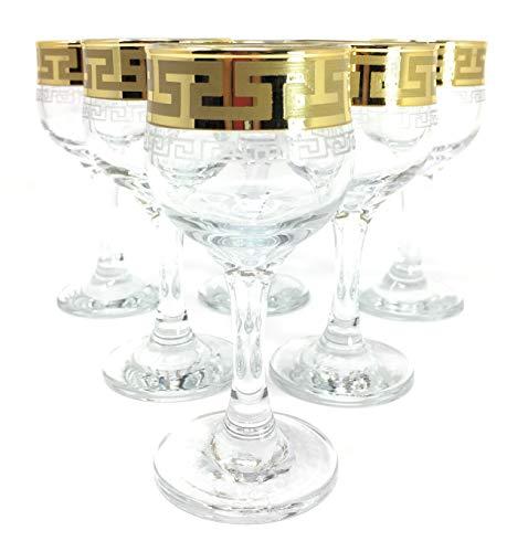 CRYSTAL GLASS SHOT GLASSES 2oz60ml GOLD PLATED SET OF 6 CORDIAL VODKA LIQUEUR WHISKEY GLASSES ENGRAVED VINTAGE GREEK DESIGN CLASSIC STEM GOBLETS