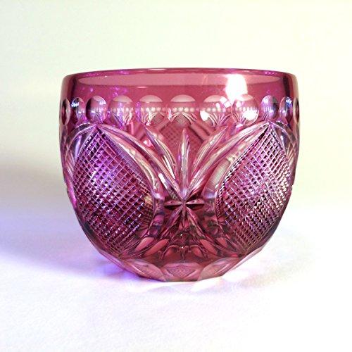 ENG-02 Edo Kiriko Cut Glass NEMOTO Tatsuya Sasa-no-Ha Japanese GUINOMI Sake Cup Red