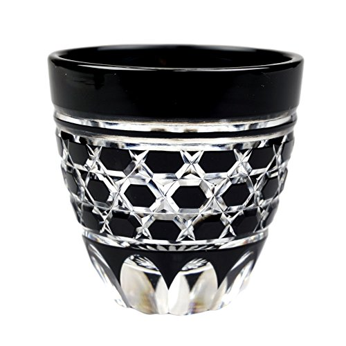 Guinomi Sake Cup Shot Glass Edo Kiriko Design Cut Glass Black - Rokkaku-Kagome Hexagon Pattern Japanese Crafts Sakura