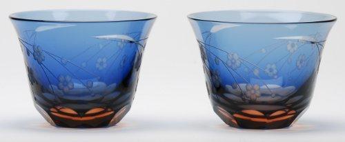 Japanese Edo-Kiriko Cut Glass Sake Cups A Pair of Cherry Blossom Pattern by KIMOTO GLASSWARE