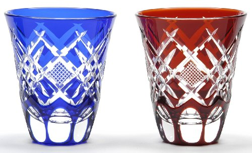 Japanese Edo-Kiriko Cut Glass Sake Cups A Pair of Hishi-nanako Pattern