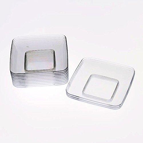 Exquisite Plastic Mini Square Appetizer Plates - 120 Ct Square plastic Dessert Plates - 24 Inch x 24 Inch Clear