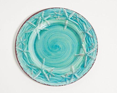 Galleyware Turquoise Raised Starfish Melamine Dinner Plate Set Of 4