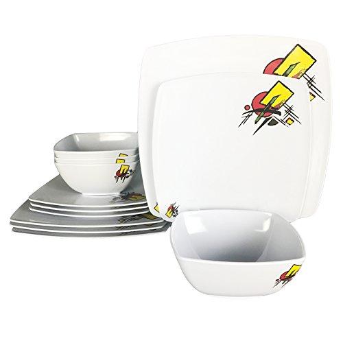 Melamine Dinner Plates Set - 12Pcs Square Dinnerware Set Abstract Design