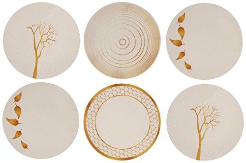 Melange 6-Piece 100 Melamine Dinner Plate Set Gold Nature Collection   Shatter-Proof and Chip-Resistant Melamine Dinner Plates
