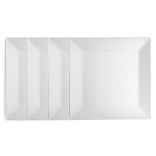 Q Squared Diamond White BPA-Free Melamine Dinner Plate 10-12 Inches Set of 4 White