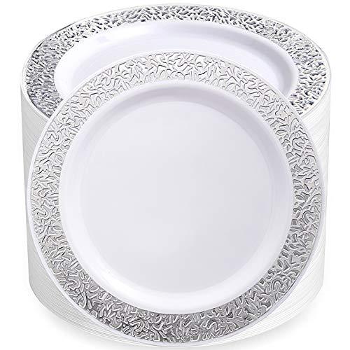 80pcs Disposable Plastic PlatesSilver Plastic Plates9 inch dinner plates salad plates plastic plates heavy duty Silver Lace Plates Plastic Plates for Party Supernal
